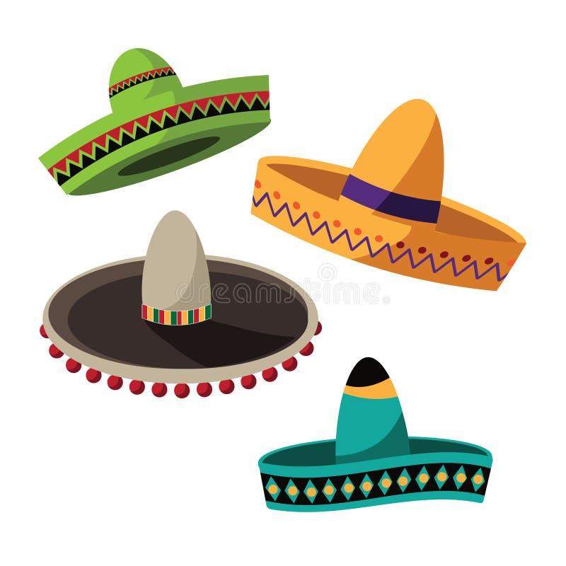 Flache Designsammlung Cinco De Mayo-Sombreros stock abbildung