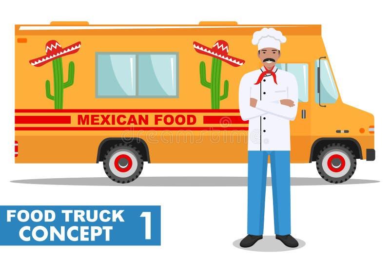 Flache Designvektorillustration von Lebensmittel-LKW und von Koch, Küchenchef in der Uniform Traditionelle mexikanische Straßenkü stock abbildung