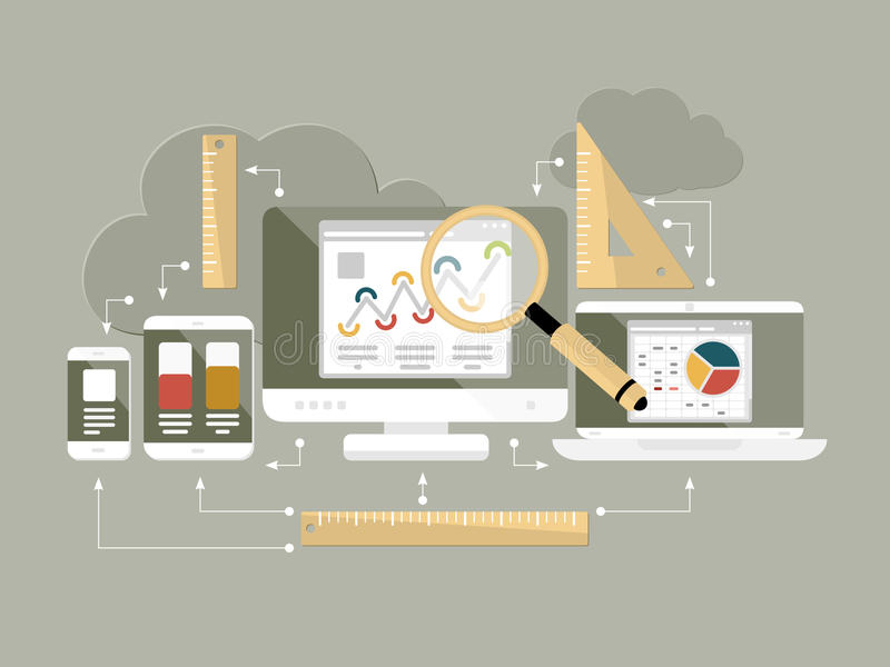 Flache Designwebsiteanalytik-Vektorillustration lizenzfreie stockfotos