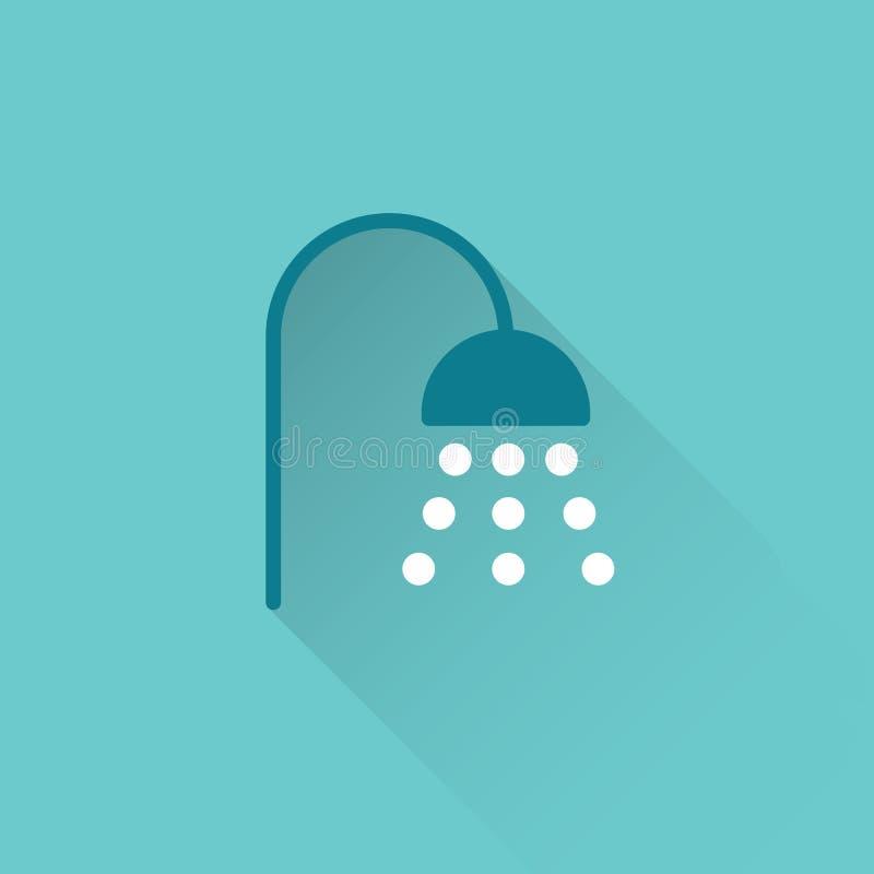 Flache Duschikone auf blauem Hintergrund lizenzfreie abbildung