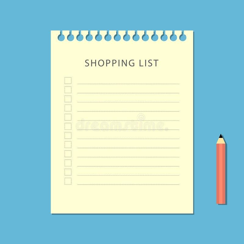 Flache Einkaufsliste und Bleistift auf blauem Hintergrund stock abbildung