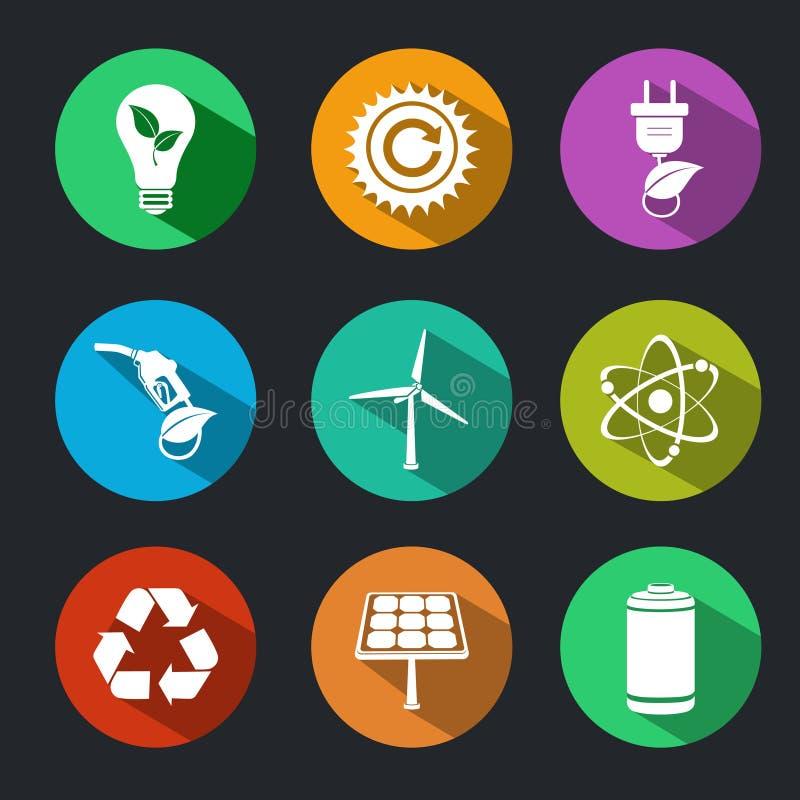 Flache Energie-und Ökologie-Ikonen eingestellt lizenzfreie abbildung