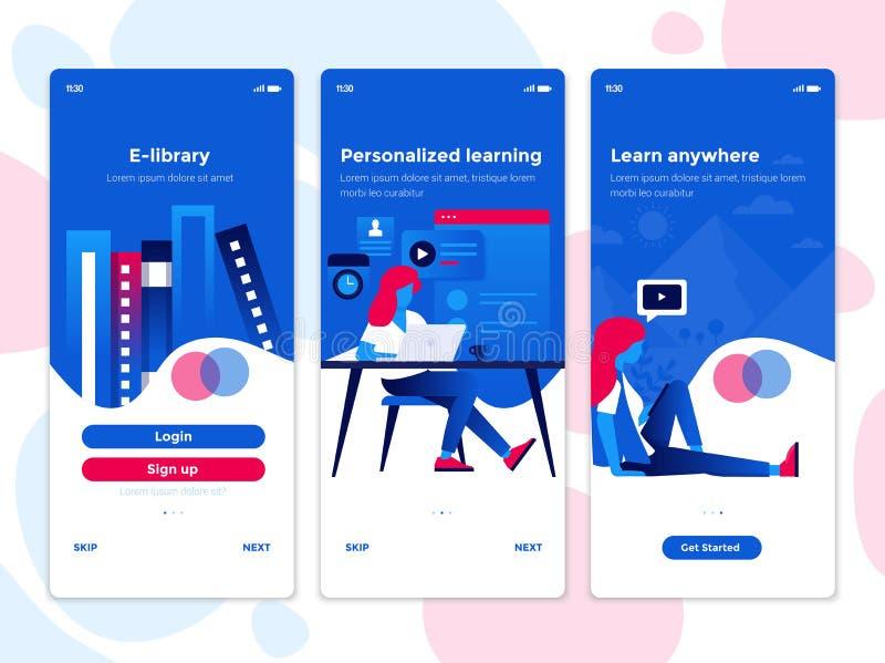 Flache Entwurf Oneboarding-Konzepte - Ausbildung App vektor abbildung