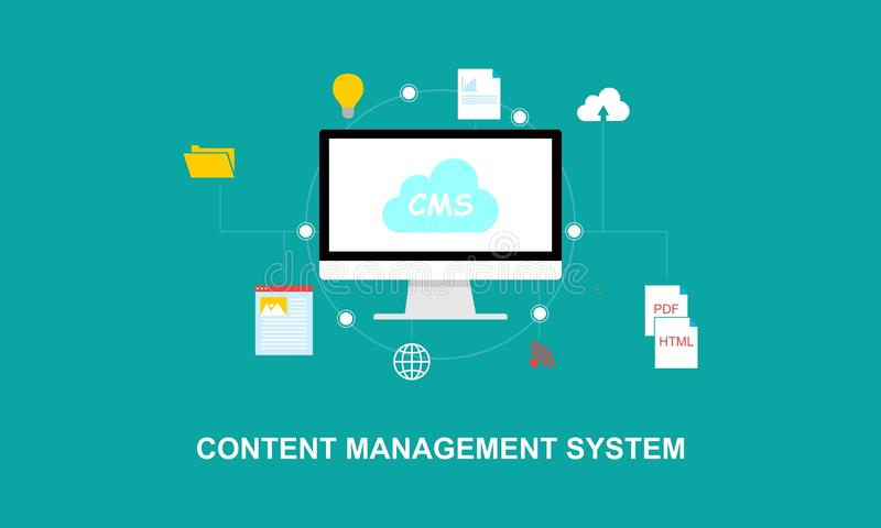 Flache Entwurfscontent management-Systemillustration stock abbildung