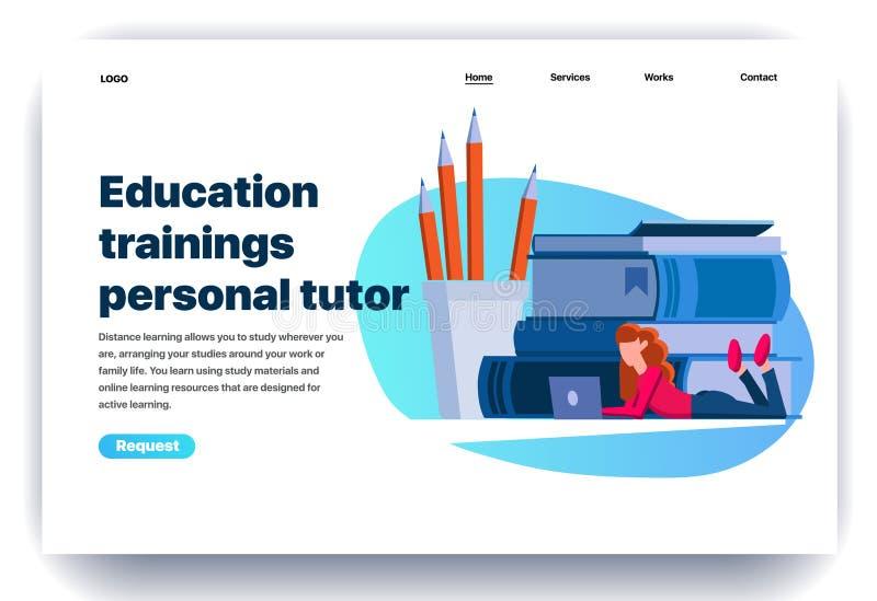 Flache Entwurfsschablone der Webseite für persönlichen Tutor des Ausbildungstrainings stock abbildung