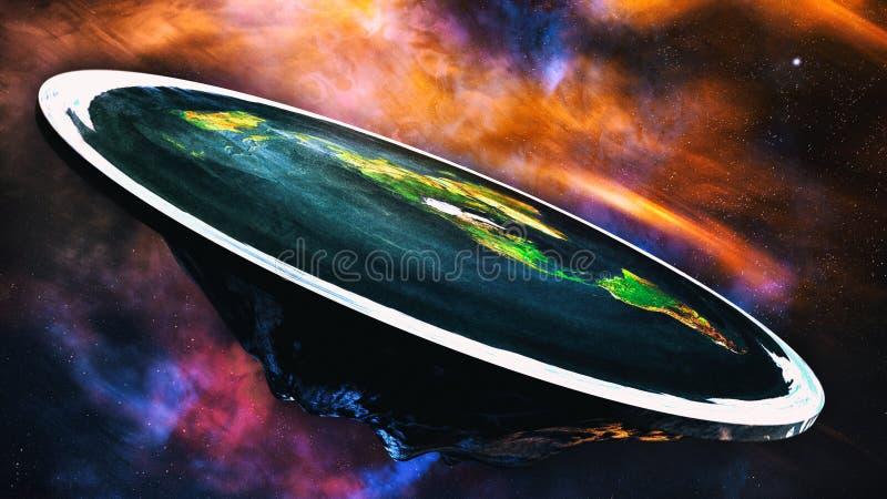 Flache Erde auf Universum-Hintergrund lizenzfreie abbildung