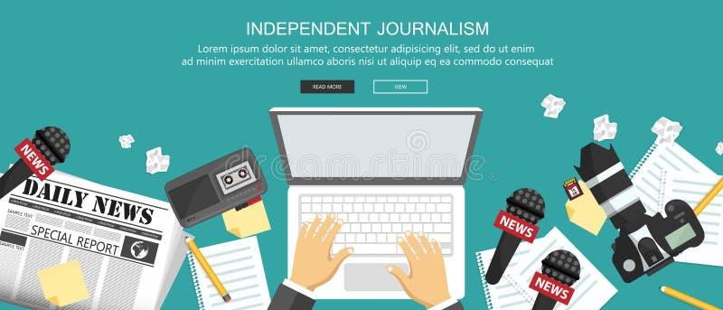 Flache Fahne des unabhängigen Journalismus Ausrüstung für Journalisten auf Schreibtisch Flacher Vektor lizenzfreie abbildung