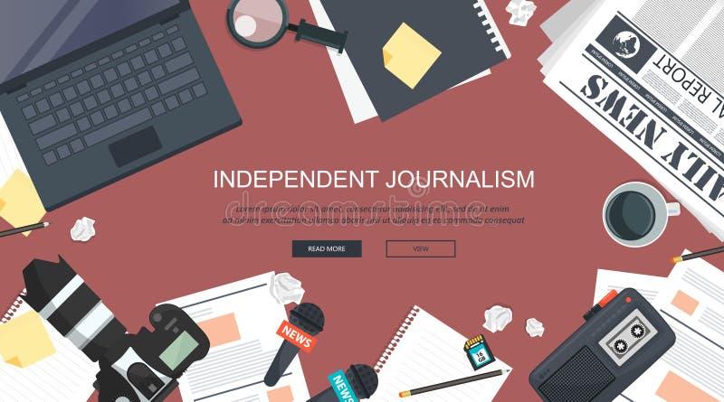 Flache Fahne des unabhängigen Journalismus Ausrüstung für Journalisten auf Schreibtisch Flache Vektorillustration stock abbildung