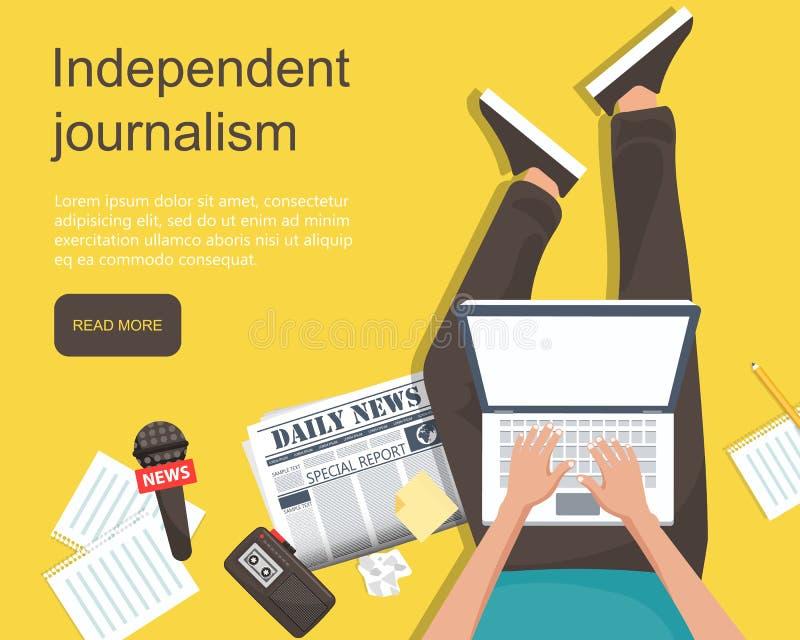 Flache Fahne des unabhängigen Journalismus Mann, der auf die Bodenholdingschossoberseite in seinem Schoss mit Ausrüstung für Jour lizenzfreie abbildung
