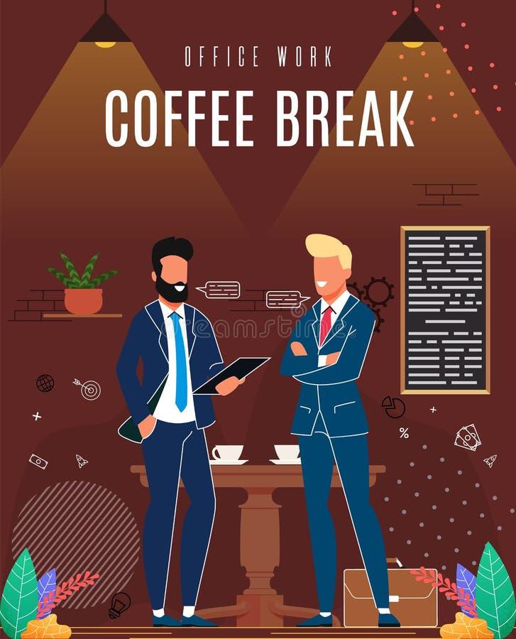 Flache Fahnen-Aufschrift-Büro-Arbeits-Kaffeepause lizenzfreie abbildung