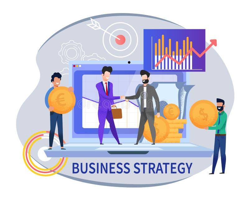 Flache Fahnen-Geschäftsstrategie auf weißem Hintergrund stock abbildung