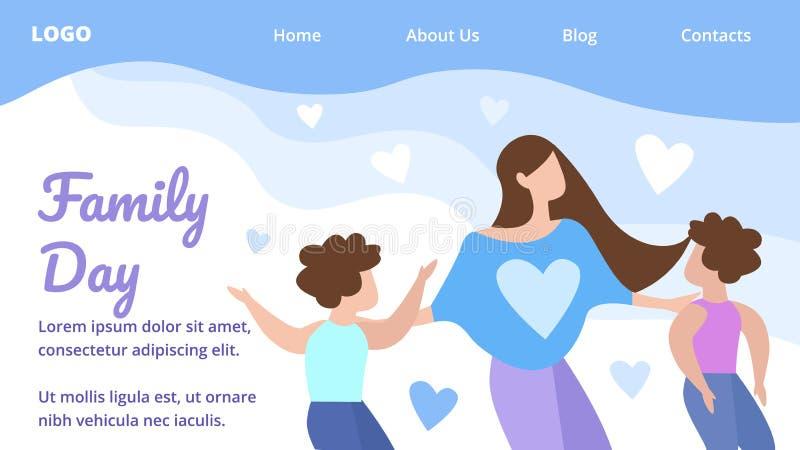 Flache Fahnen-glückliche Familien-Tageslandungs-Seiten-Karikatur stock abbildung