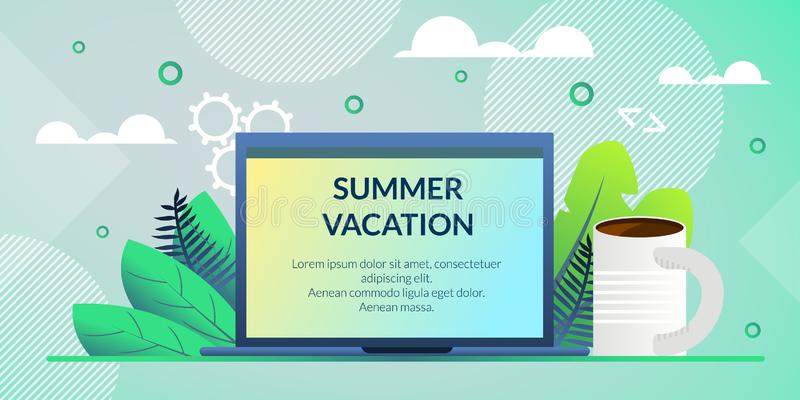 Flache Fahnen-Plakat-Aufschrift-Sommer-Ferien vektor abbildung