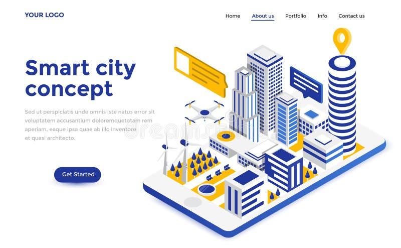 Flache Farbemoderne isometrische Konzept-Illustration - intelligente Stadt stock abbildung