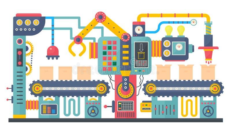 Flache Farbindustrielle Fertigungsförderermaschinen-Vektorillustration Geschäftsprodukt-Prozessproduktionsverfahren stock abbildung