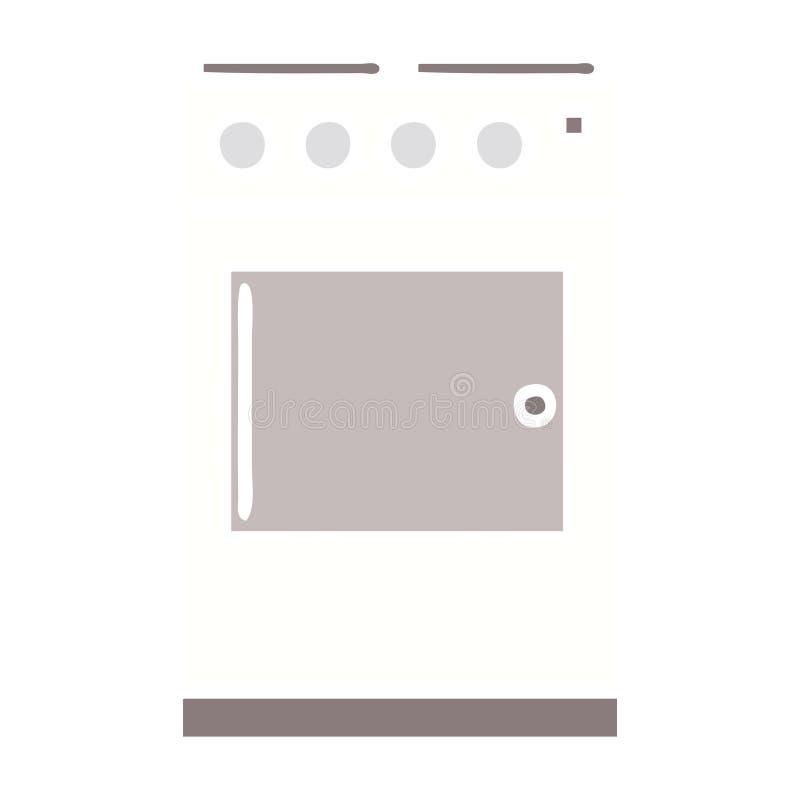 flache Farbretro- Karikaturofen und -kocher stock abbildung