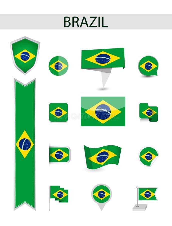 Flache Flaggen-Sammlung Brasiliens stock abbildung