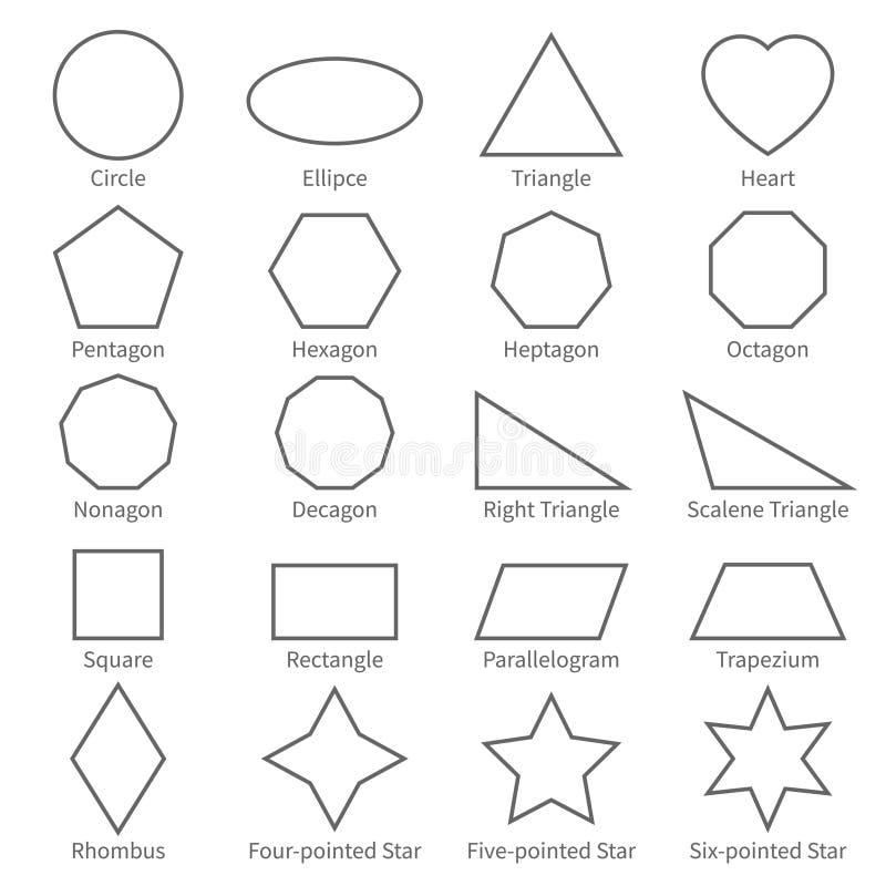 Flache Formen des grundlegenden geometrischen Entwurfs Pädagogisches Geometrievektordiagramm für Kinder vektor abbildung