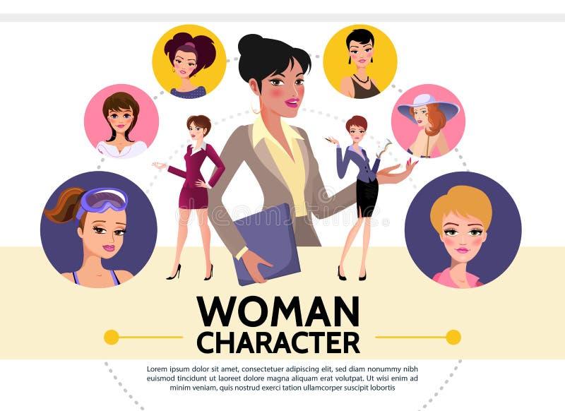 Flache Frauen-Charakter-Avatara-Sammlung lizenzfreie abbildung