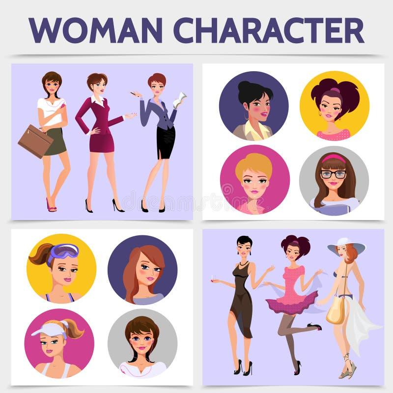 Flache Frauen-Charakter-quadratisches Konzept stock abbildung