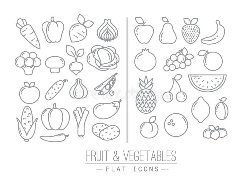 Flache Frucht-Gemüse-Ikonen lizenzfreie abbildung