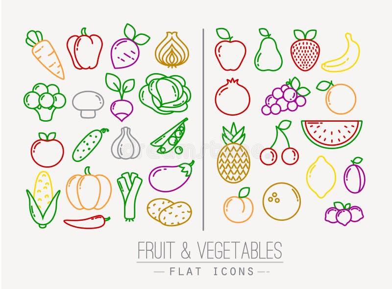 Flache Frucht-Gemüse-Ikonen-Farbe vektor abbildung