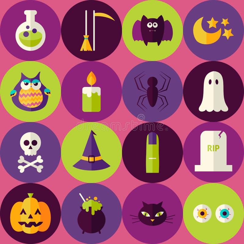 Flache furchtsame Hexen-nahtloses Muster Halloweens mit buntem Kreis stock abbildung