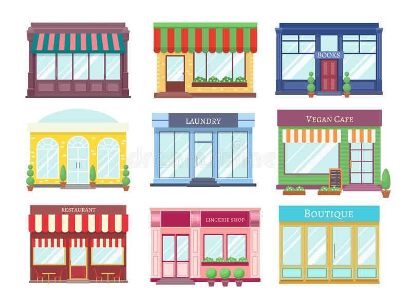 Flache Gebäude des Speichers Karikaturgeschäftsfassade mit Schaufenster-Restauranthäusern des Schaukastenboutiqueneinzelhandels e stock abbildung