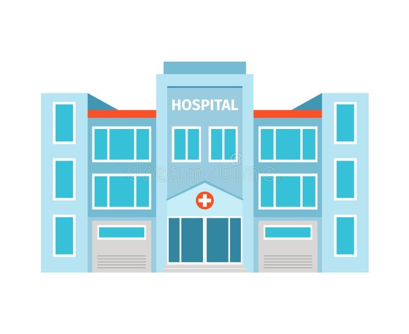 Flache Gebäudeikone des Krankenhauses lizenzfreie abbildung