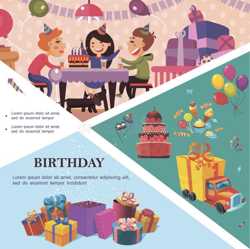 Flache Geburtstagsfeier-Schablone stock abbildung
