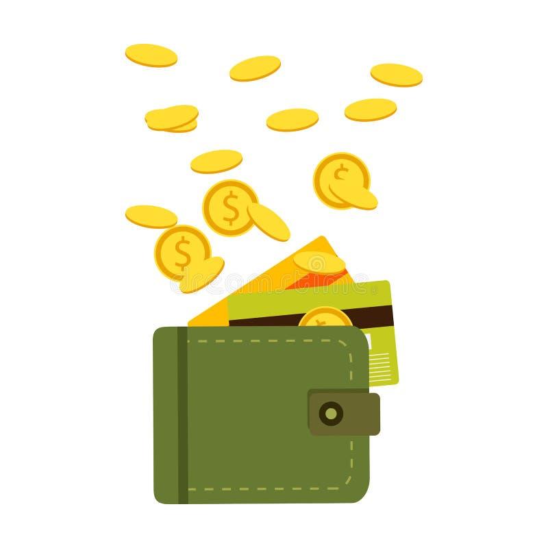 Flache Geldbörse mit Geld, Münzen und Kreditkarte, Bargeld Vektor stock abbildung