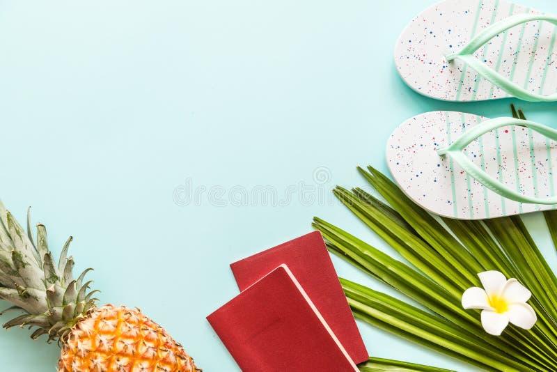 Flache gelegte Einzelteile der Reise: frische Ananas, Strandpantoffel, tropische Blume und Palmblatt Platz f?r Text Beschneidungs stockbild