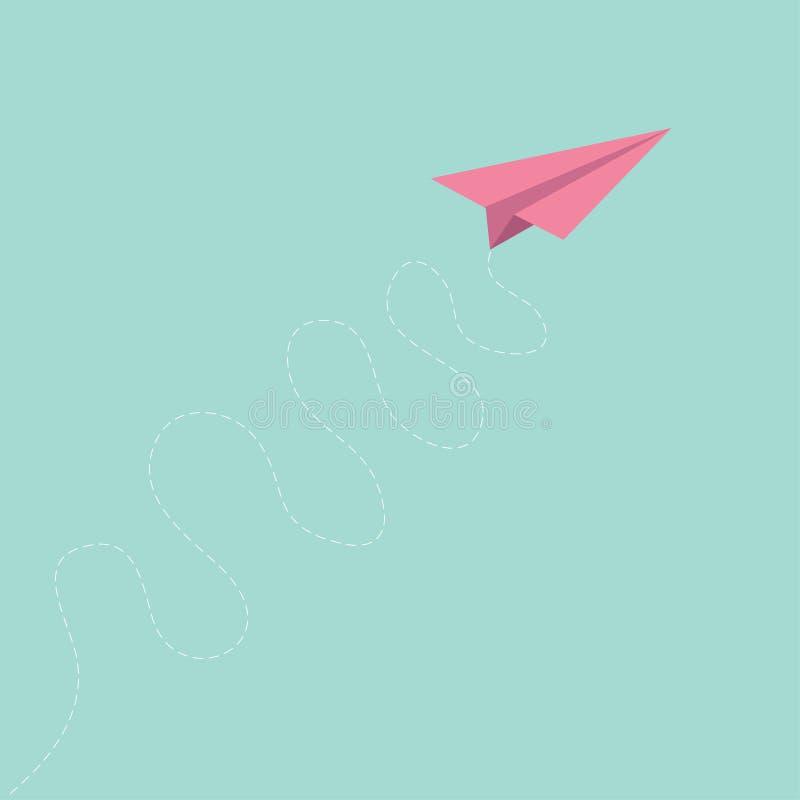 Flache gelockte Strichliniepapierbahn des rosa Origamis im flachen Design des Himmels stock abbildung