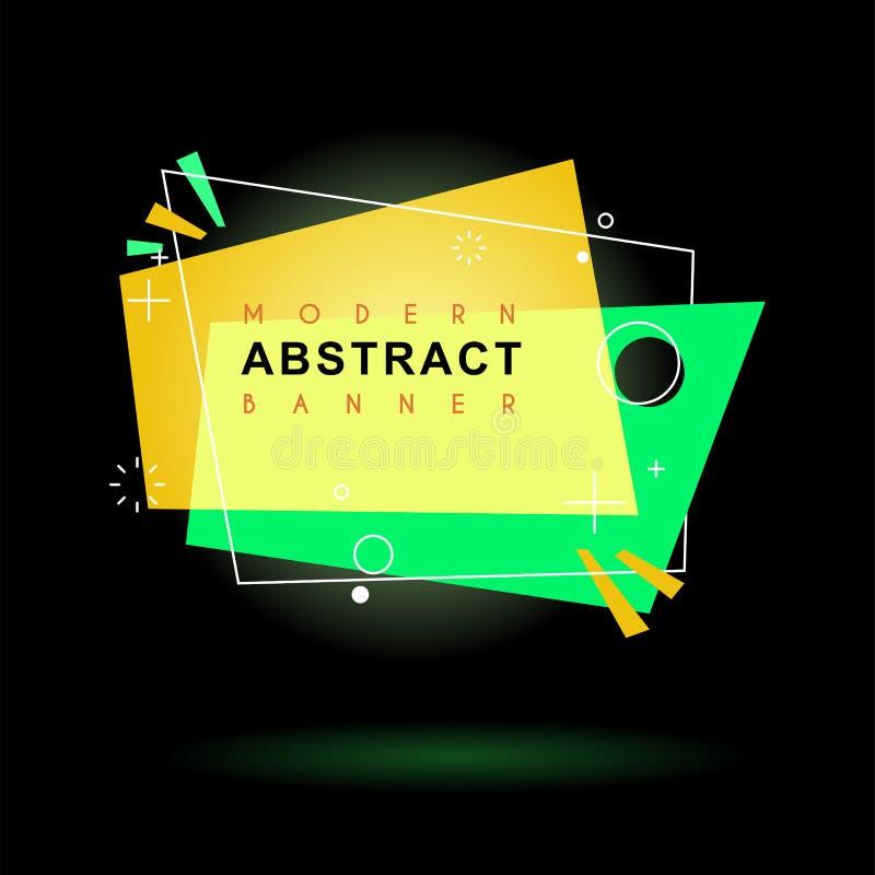 Flache geometrische Form mit Entwurf in der Memphis-Entwurfsart Klare transparente Fahne in der Retro- Plakatdesignart lizenzfreie abbildung
