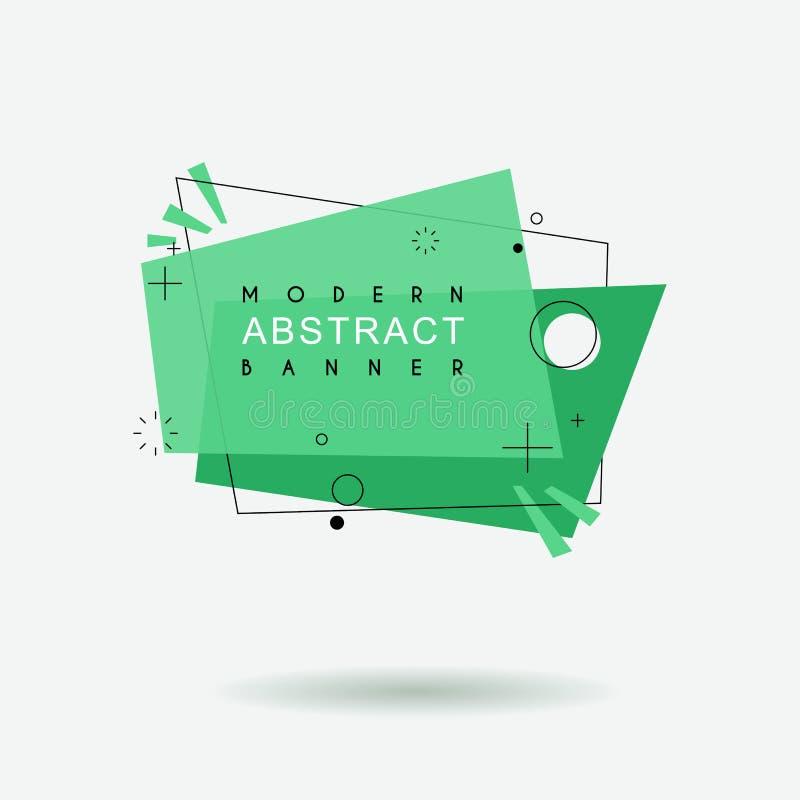 Flache geometrische Form mit Entwurf in der Memphis-Entwurfsart Klare transparente Fahne in der Retro- Plakatdesignart stock abbildung