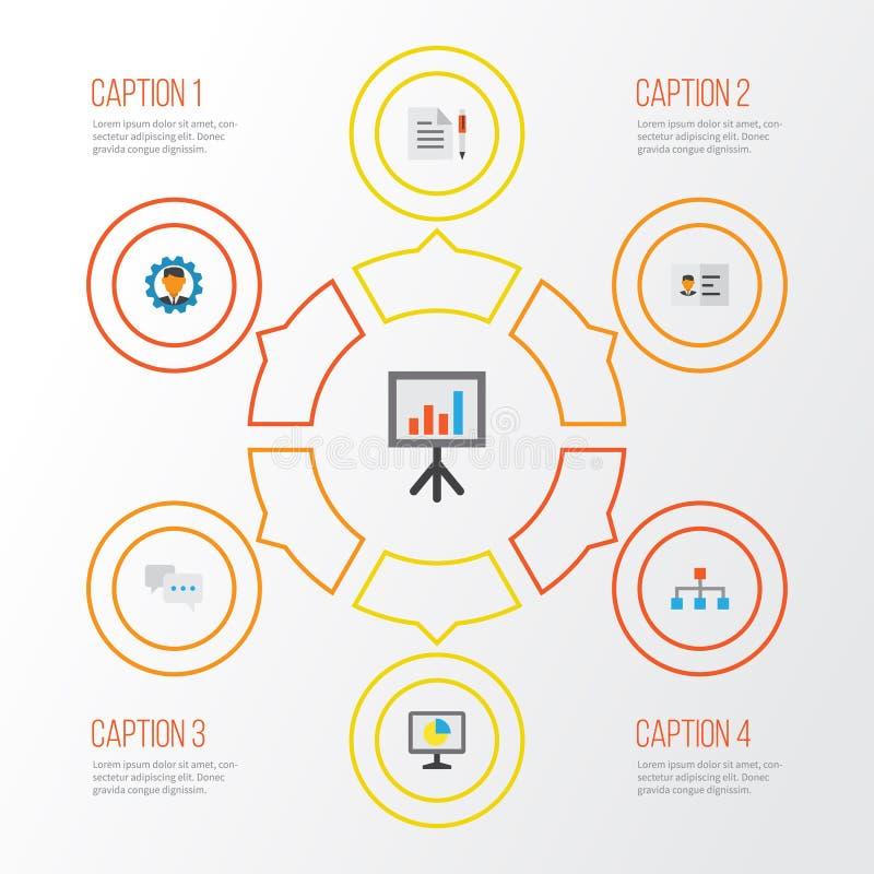 Flache Geschäftsikonen eingestellt Sammlung Hierarchie, Vertrag, Entwickler und andere Elemente Schließt auch Symbole wie ein lizenzfreie abbildung