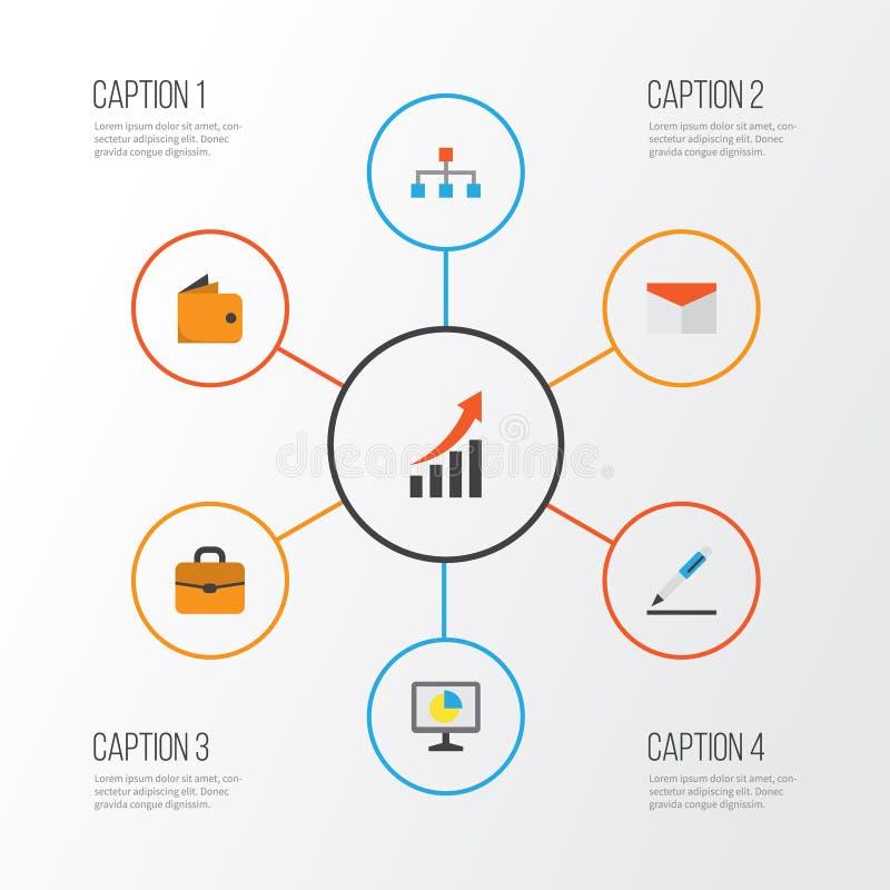 Flache Geschäftsikonen eingestellt Sammlung Stift, Statistiken, Hierarchie und andere Elemente Schließt auch Symbole wie ein vektor abbildung