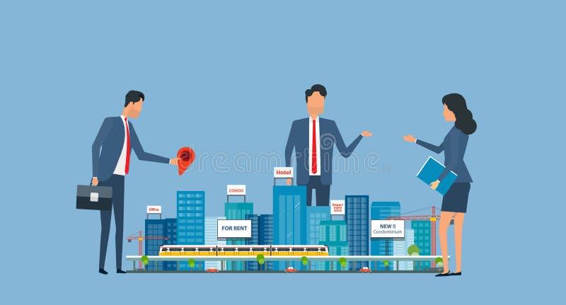 Flache Geschäftsimmobilieninvestition mit Gruppeninvestorsitzung vektor abbildung