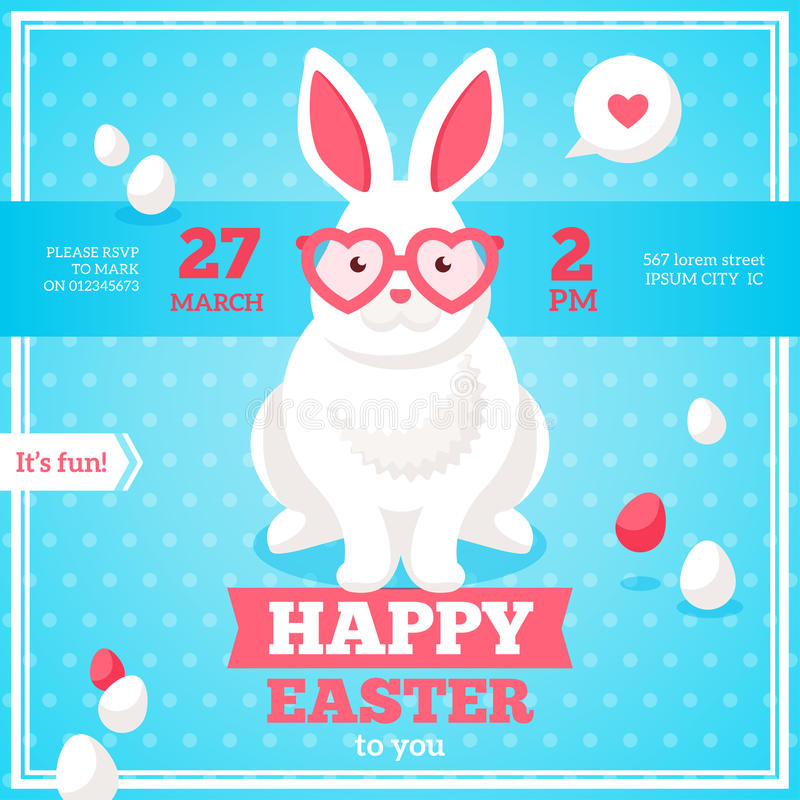 Flache glückliche Ostern-Fahne mit Kaninchen lizenzfreie abbildung
