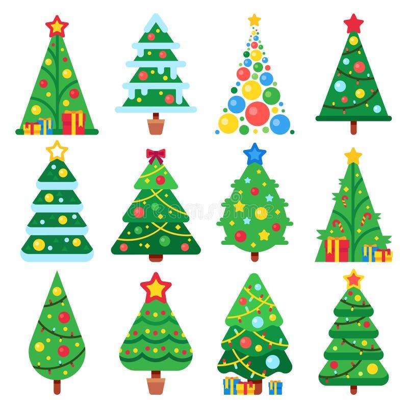 Flache grüne Weihnachtsbäume Moderner Baum Dezember-Feiertage mit Schneeblättern Weihnachtsfichtenformvektor-Illustrationssatz lizenzfreie abbildung