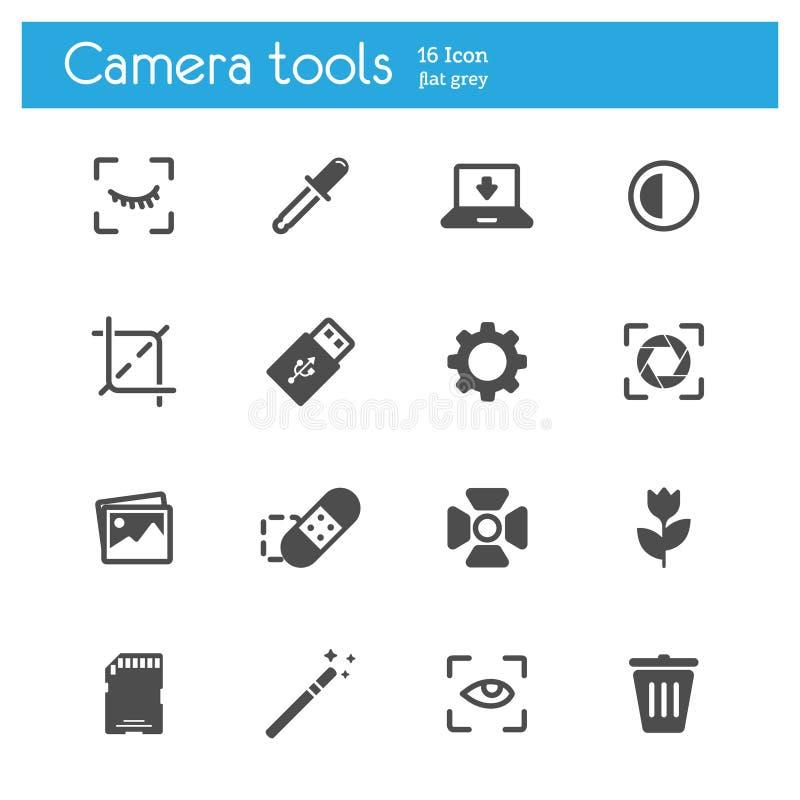 Flache graue Ikonen der Kamerawerkzeuge stellten von 16 ein lizenzfreie abbildung
