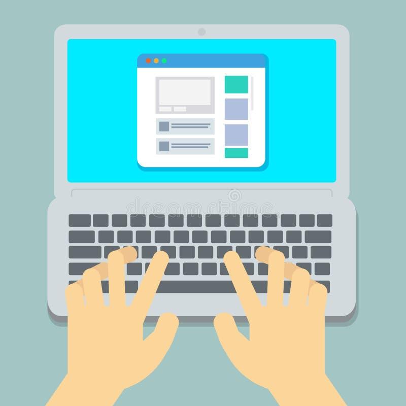 Flache Hände, die auf Laptoppastellhintergrund schreiben lizenzfreie abbildung