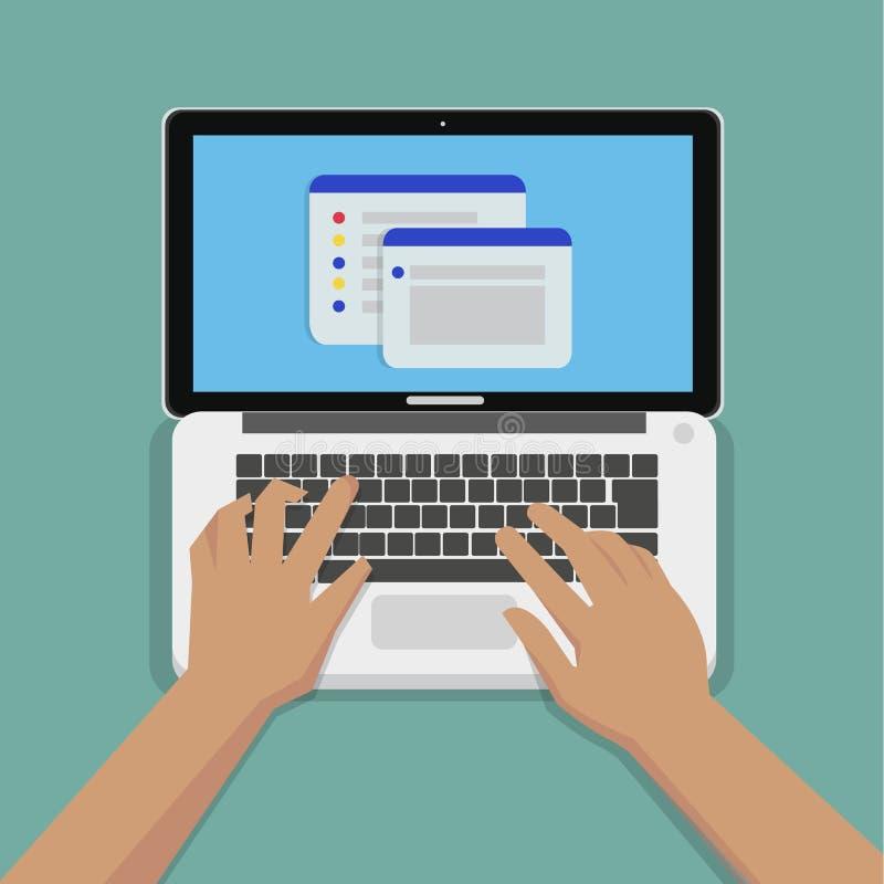Flache Hände, die auf weißer Tastatur mit Laptop-Computer schreiben vektor abbildung