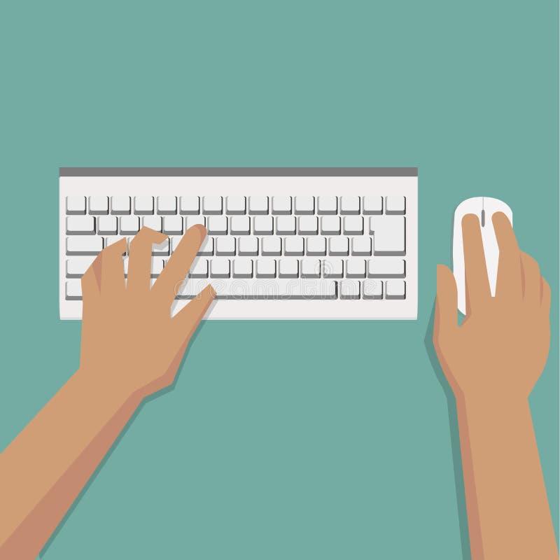 Flache Hände, die auf weißer Tastatur mit Maus schreiben stock abbildung