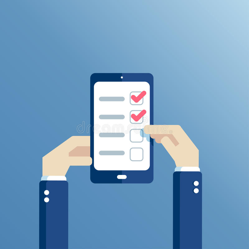 Flache Hände und Telefon mit Checkliste lizenzfreie abbildung