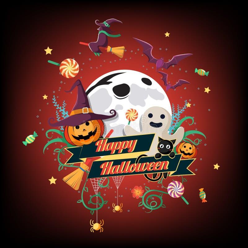 Flache Halloween-Ikone und Halloween-Charakter und -element entwerfen Ausweis, Halloween-Hintergrund, Vektor-Illustration, Süßes  lizenzfreie abbildung