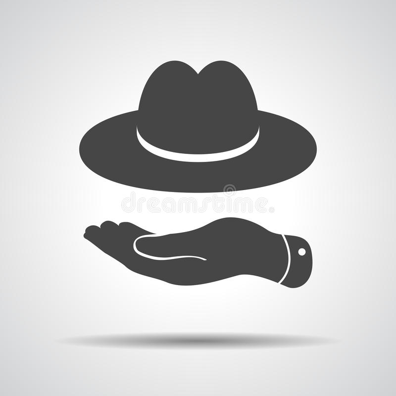 Flache Hand, die Ikone des schwarzen Hutes zeigt vektor abbildung