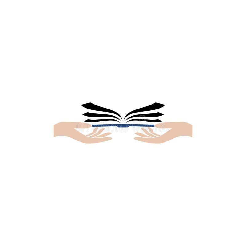 Flache Hand, die Ikonenlogo des offenen Buches gibt stock abbildung