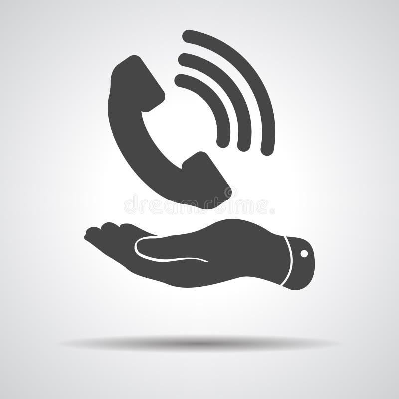 Flache Hand, die schwarze Telefonempfängerikone zeigt vektor abbildung