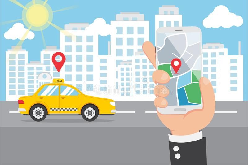 Flache Hand, die Smartphone und Anruf-intelligentes Taxi hält stock abbildung